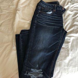 American eagle distressed dark jeans